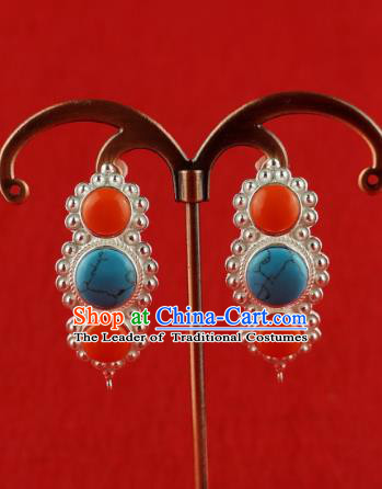 Chinese Traditional Zang Nationality Jewelry Accessories Handmade Sliver Earrings, China Tibetan Ethnic Eardrop for Women