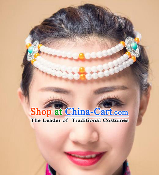 Traditional Chinese Mongol Nationality Hair Accessories, Mongolian Minority White Beads Headwear for Women