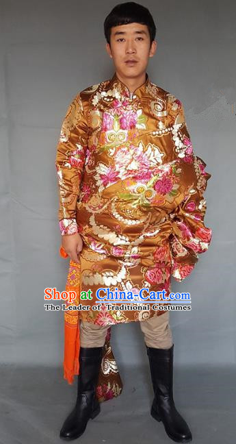 Chinese Traditional Zang Nationality Wedding Golden Tibetan Robe, China Tibetan Ethnic Heishui Dance Costume for Men