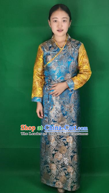 Chinese Zang Nationality Blue Dress, China Traditional Tibetan Ethnic Heishui Dance Costume for Women