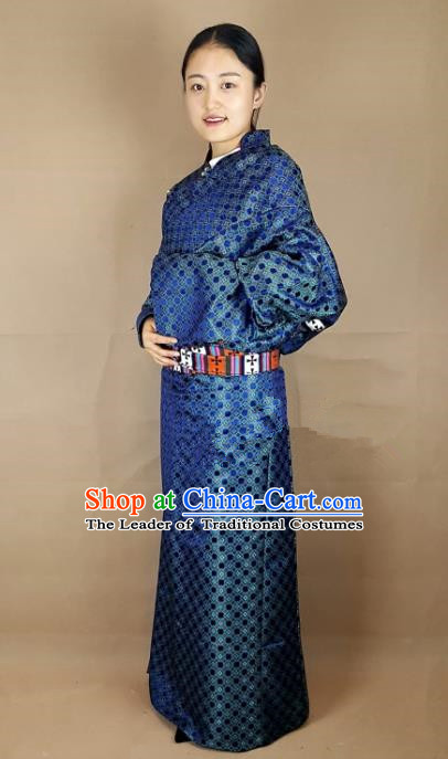 Chinese Zang Nationality Folk Dance Royalblue Brocade Tibetan Robe, China Traditional Tibetan Ethnic Costume for Women