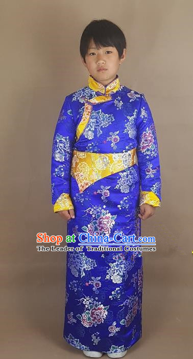 Chinese Traditional Zang Nationality Children Royalblue Tibetan Robe, China Tibetan Ethnic Heishui Dance Costume for Kids