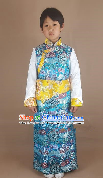 Chinese Traditional Zang Nationality Children Blue Tibetan Robe, China Tibetan Ethnic Heishui Dance Costume for Kids