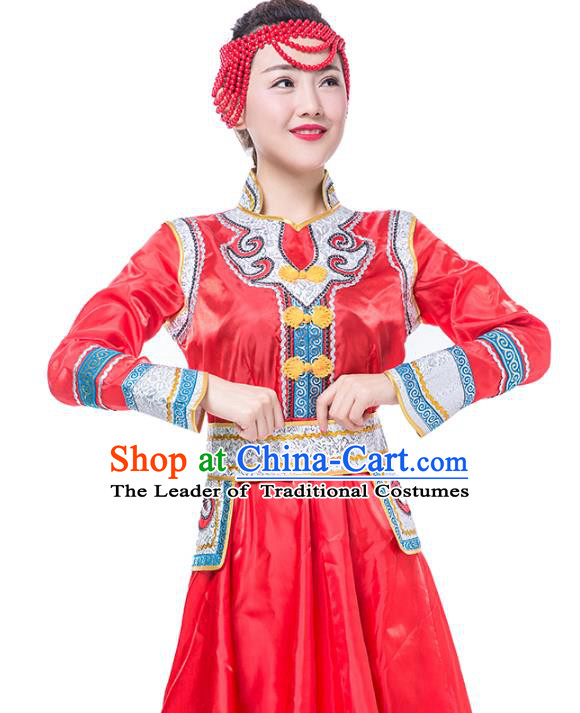 Traditional Chinese Mongol Nationality Costume, Mongolian Female Folk Dance Red Dress Clothing for Women