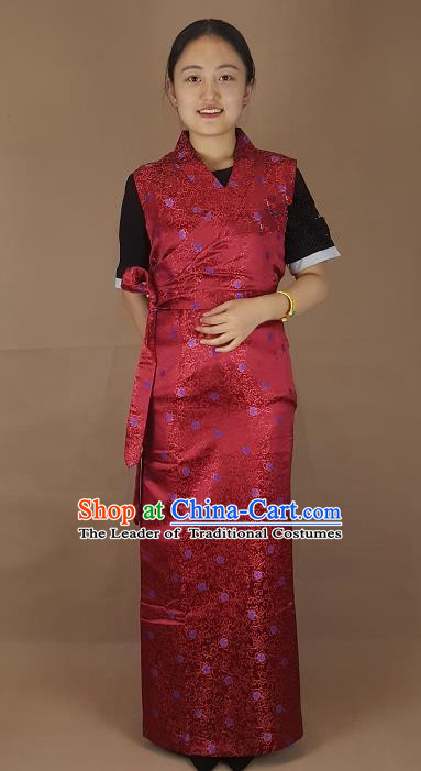 Chinese Zang Nationality Folk Dance Purplish Red Brocade Dress, China Traditional Tibetan Ethnic Costume for Women