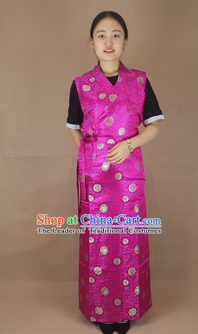 Chinese Zang Nationality Folk Dance Rosy Brocade Dress, China Traditional Tibetan Ethnic Costume for Women