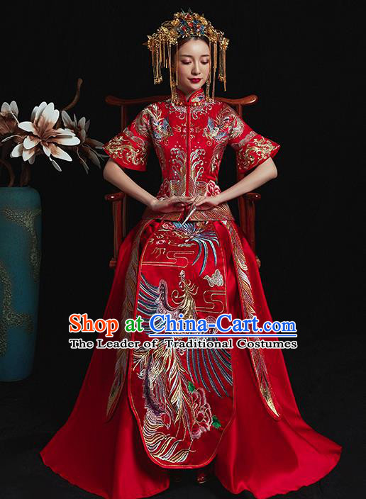 Chinese Traditional Wedding Costume Ancient Bride Xiuhe Suit Embroidered Red Full Dress for Women