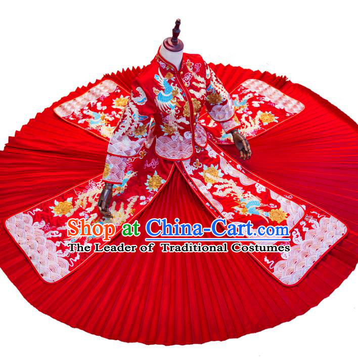 Chinese Traditional Wedding Toast Costume Ancient Bride Embroidered Phoenix Xiuhe Suit Red Full Dress for Women