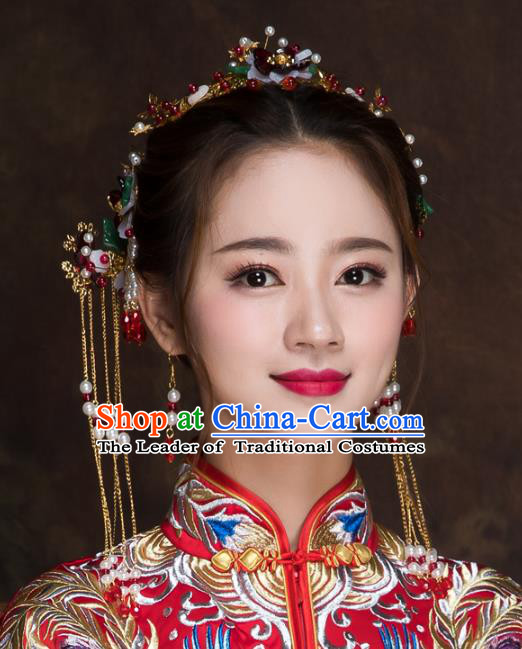 Chinese Traditional Handmade Wedding Hair Accessories, China Ancient Bride Phoenix Coronet Hairpins for Women