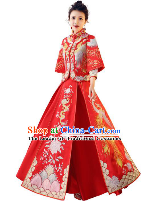 Chinese Traditional Wedding Toast Costume Ancient Bride Embroidered Xiuhe Suit Full Dress for Women