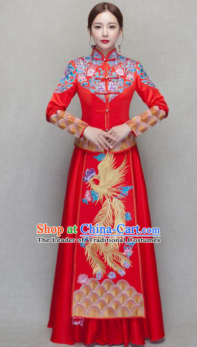 Chinese Traditional Wedding Bottom Drawer Ancient Bride Costume Embroidered Phoenix Xiuhe Suit Full Dress for Women