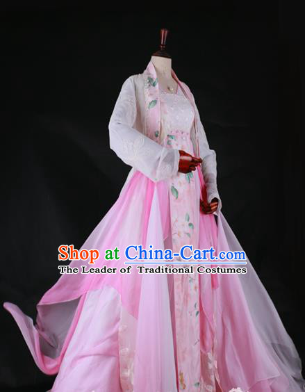 Traditional Chinese Princess Costume Ancient Tang Dynasty Palace Lady Embroidered Hanfu Dress for Women