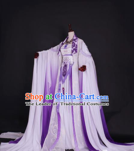 Chinese Ancient Palace Princess Purple Hanfu Dress Tang Dynasty Imperial Empress Embroidered Costume for Women