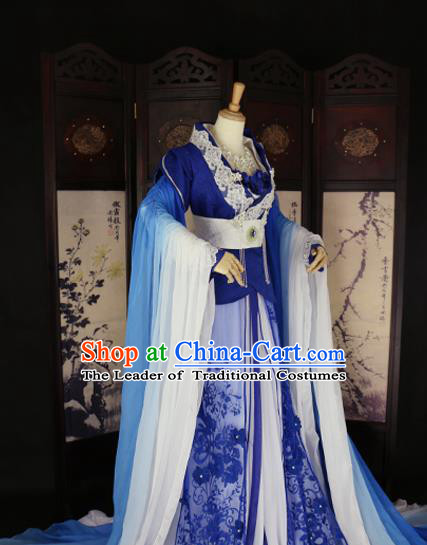 Chinese Ancient Cosplay Queen Blue Hanfu Dress Tang Dynasty Imperial Consort Embroidered Costume for Women