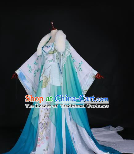 Chinese Ancient Princess Embroidered Costume Han Dynasty Imperial Concubine Green Hanfu Dress for Women
