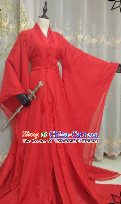 Chinese Ancient Fairy Costume Cosplay Swordswoman Clothing Song Dynasty Nobility Lady Red Hanfu Dress for Women
