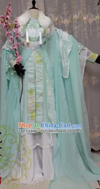 Chinese Ancient Court Princess Costume Cosplay Swordswoman Clothing Tang Dynasty Palace Lady Green Hanfu Dress for Women