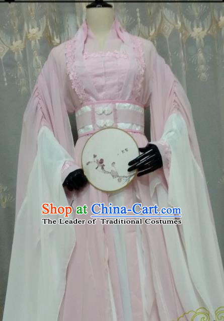Chinese Ancient Costume Cosplay Swordswoman Clothing Tang Dynasty Princess Pink Hanfu Dress for Women