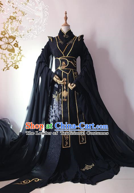 Chinese Ancient Nobility Childe Royal Highness Black Costume Cosplay Swordsman Embroidered Clothing for Men