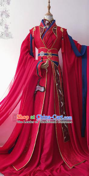 Chinese Ancient Nobility Childe Royal Highness Red Costume Cosplay Swordsman Embroidered Wedding Clothing for Men