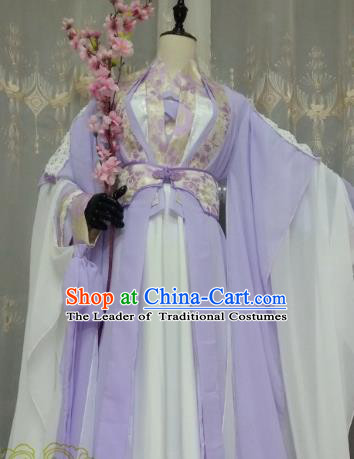 Chinese Ancient Fairy Costume Cosplay Swordswoman Clothing Tang Dynasty Princess Lilac Hanfu Dress for Women