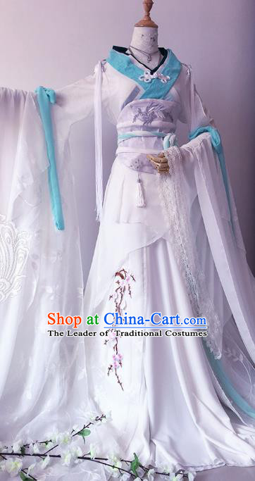 Chinese Ancient Cosplay Queen Costume Han Dynasty Empress Swordswoman Embroidered Hanfu Dress for Women