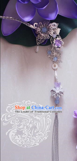 Chinese Traditional Handmade Hair Accessories Ancient Hairpins Tassel Step Shake for Women
