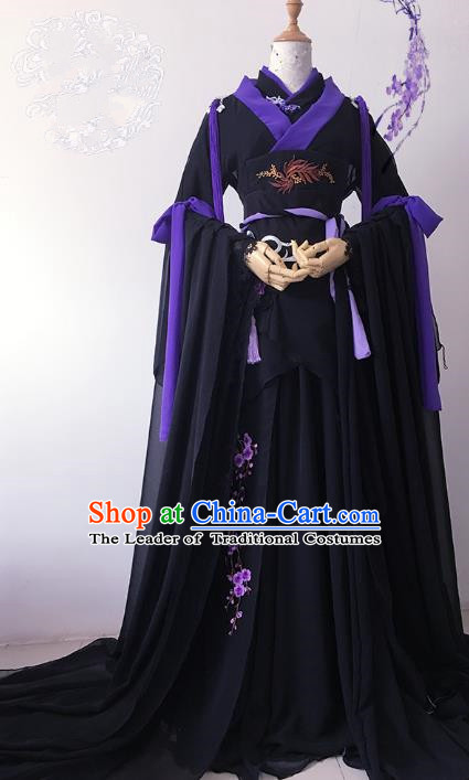 Chinese Ancient Cosplay Queen Costume Han Dynasty Empress Embroidered Black Hanfu Dress for Women