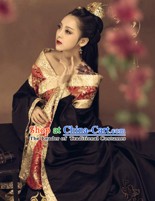 Traditional Chinese Ancient Imperial Consort Costume Tang Dynasty Imperial Concubine Embroidered Clothing and Headpiece for Women