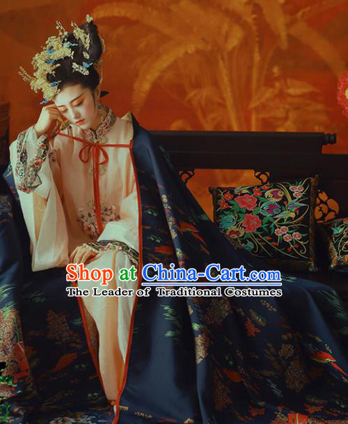 Chinese Ancient Palace Lady Hanfu Dress Traditional Qing Dynasty Manchu Imperial Concubine Embroidered Costume and Headdress for Women