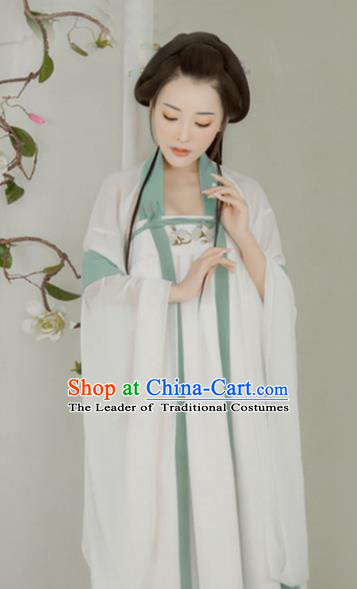 Chinese Ancient Imperial Concubine Hanfu Dress Traditional Tang Dynasty Princess Embroidered Costume and Hairpins for Women