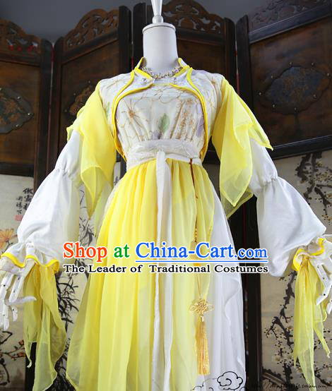 Chinese Ancient Cosplay Swordswoman Costume Song Dynasty Young Lady Embroidered Yellow Hanfu Dress for Women