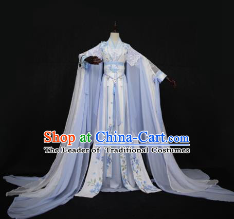 Chinese Ancient Cosplay Swordswoman Costume Tang Dynasty Nobility Lady Embroidered Blue Hanfu Dress for Women
