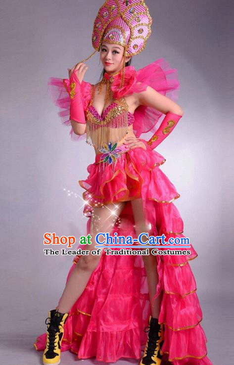 Top Grade Stage Performance Modern Dance Costume Opening Dance Rosy Clothing and Headpiece for Women