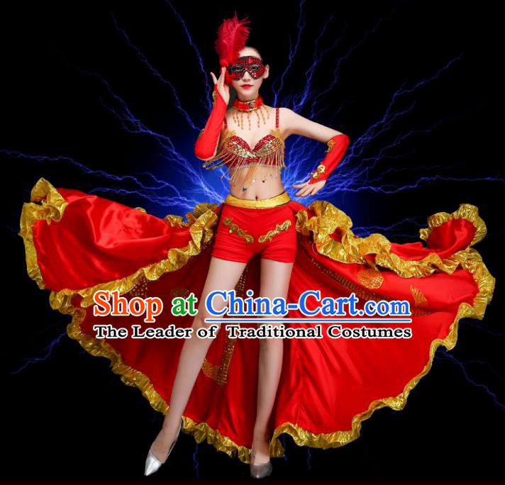 Top Grade Stage Performance Spanish Dance Costume Opening Dance Red Clothing and Headpiece for Women