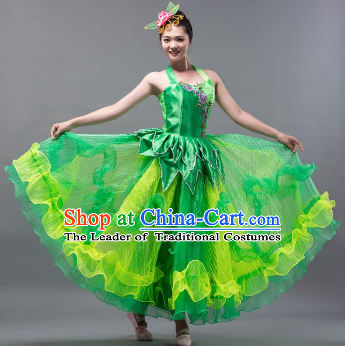 Top Grade Stage Performance Folk Dance Costume Chorus Modern Dance Green Bubble Dress for Women
