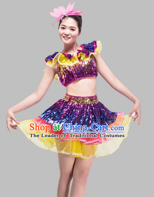 Top Grade Stage Performance Jazz Dance Costume Chorus Modern Dance Bubble Dress for Women