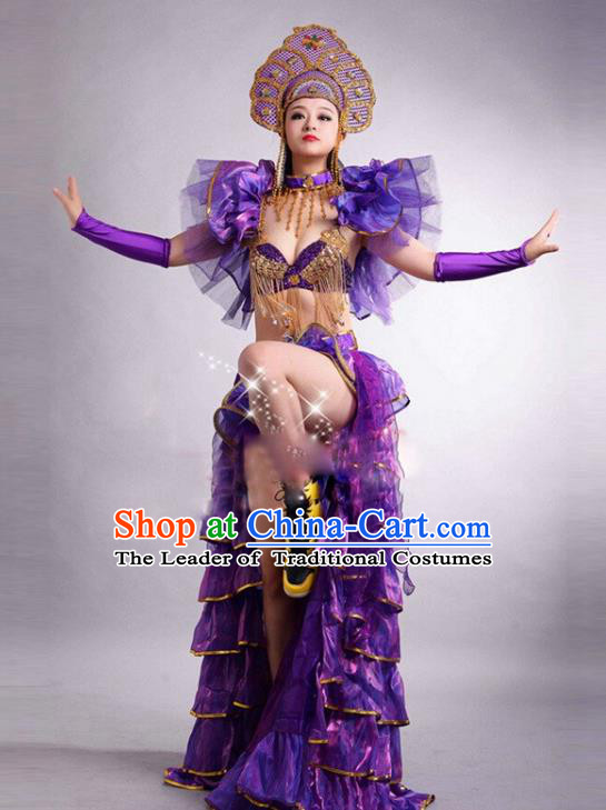 Top Grade Stage Performance Modern Dance Costume Opening Dance Purple Clothing and Headpiece for Women