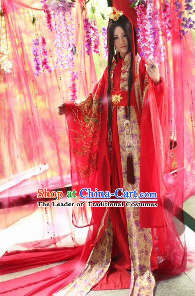 Chinese Ancient Wedding Embroidered Costume Nobility Childe Red Hanfu Dress for Men