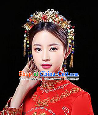 Chinese Traditional Handmade Wedding Bride Phoenix Coronet Hair Accessories Ancient Hairpins Complete Set for Women