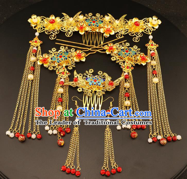 Chinese Traditional Handmade Wedding Hair Accessories Blueing Phoenix Coronet Ancient Hairpins Complete Set for Women
