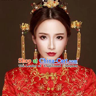 Chinese Traditional Hair Accessories Bride Xiuhe Suit Tassel Hair Clip Ancient Hairpins Complete Set for Women