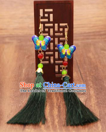 Traditional Chinese Jewelry Accessories Ancient Hanfu Blueing Butterfly Tassel Earrings for Women