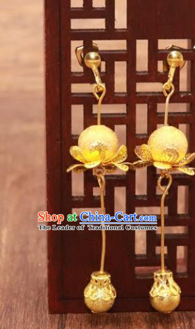 Traditional Chinese Jewelry Accessories Golden Eardrop Ancient Hanfu Tassel Earrings for Women