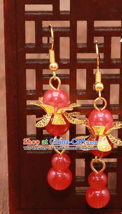 Traditional Chinese Jewelry Accessories Red Beads Eardrop Ancient Hanfu Tassel Earrings for Women