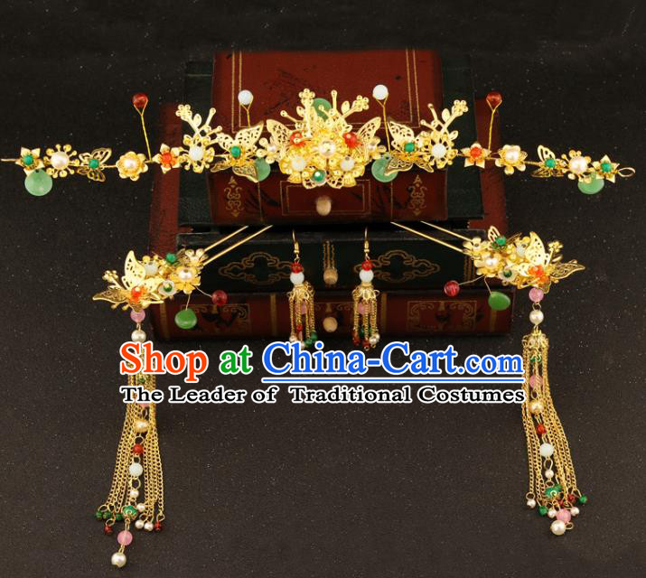 Chinese Traditional Hair Accessories Bride Xiuhe Suit Step Shake Ancient Tassel Hairpins for Women