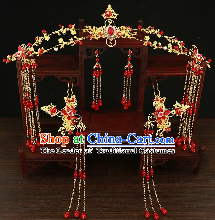 Chinese Traditional Xiuhe Suit Hair Accessories Ancient Handmade Red Beads Tassel Hairpins Complete Set for Women