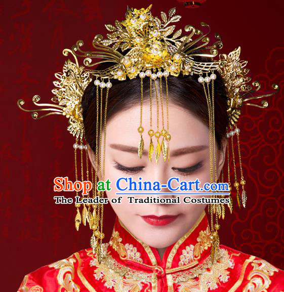 Chinese Traditional Xiuhe Suit Hair Accessories Handmade Bride Phoenix Coronet Ancient Hairpins Complete Set for Women