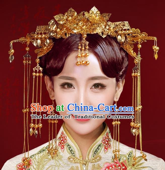 Chinese Traditional Hair Accessories Xiuhe Suit Handmade Bride Phoenix Coronet Ancient Hairpins Complete Set for Women