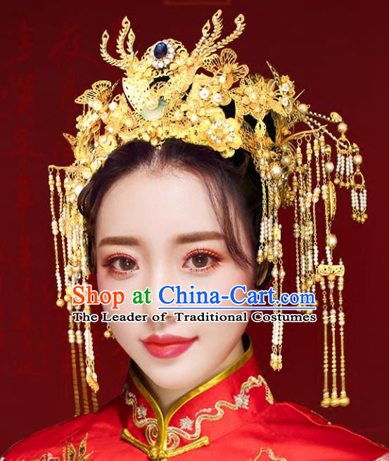 Chinese Traditional Hair Accessories Xiuhe Suit Handmade Pearls Tassel Phoenix Coronet Ancient Hairpins Tassel Step Shake for Women